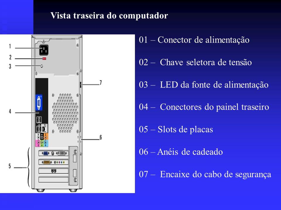Vista traseira do computador 01 – Conector de alimentação 02 – Chave seletora de tensão 03 – LED da fonte de alimentação 04 – Conectores do painel tra