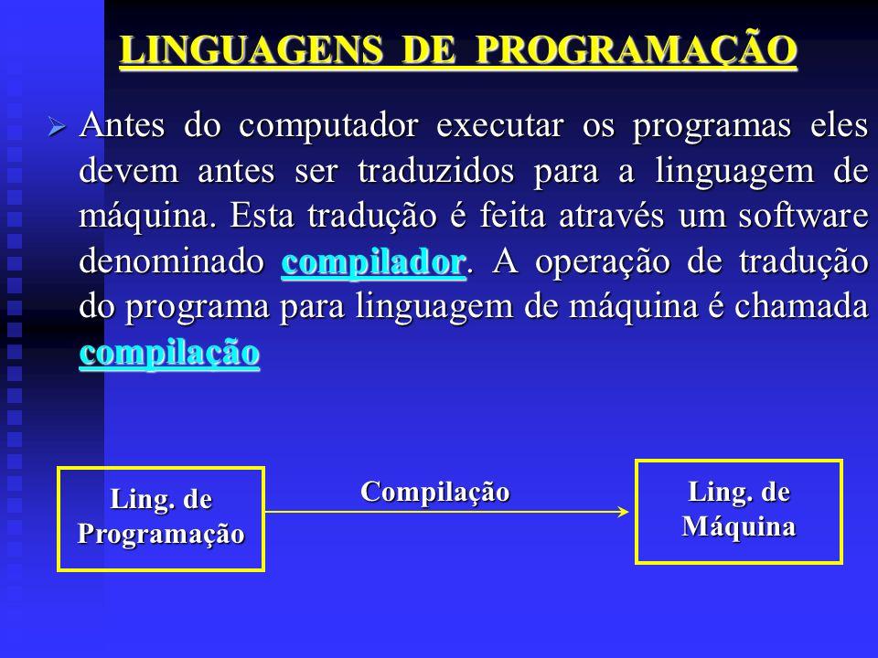 Antes do computador executar os programas eles devem antes ser traduzidos para a linguagem de máquina. Esta tradução é feita através um software denom