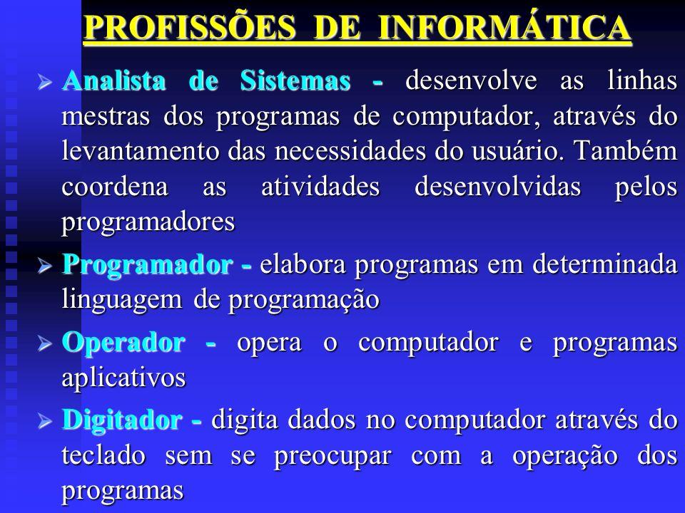 PROFISSÕES DE INFORMÁTICA Analista de Sistemas - desenvolve as linhas mestras dos programas de computador, através do levantamento das necessidades do
