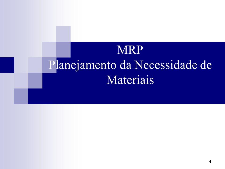 1 MRP Planejamento da Necessidade de Materiais