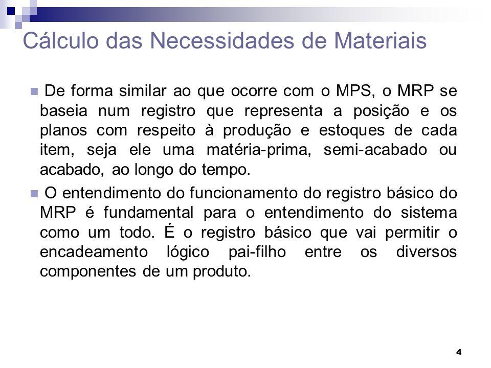 4 Cálculo das Necessidades de Materiais De forma similar ao que ocorre com o MPS, o MRP se baseia num registro que representa a posição e os planos co