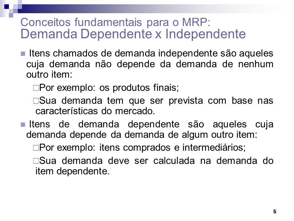 5 Conceitos fundamentais para o MRP: Demanda Dependente x Independente Itens chamados de demanda independente são aqueles cuja demanda não depende da