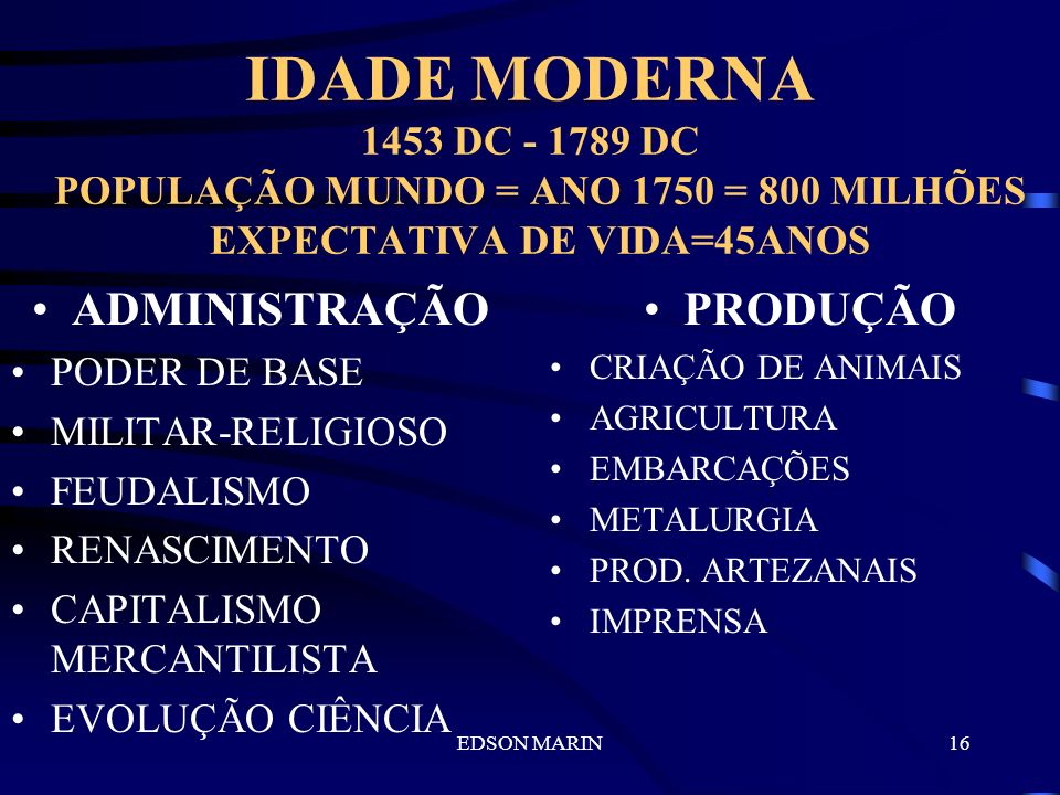 EDSON MARIN15 IDADE MÉDIA 476 DC - 1453 DC POPULAÇÃO MUNDO = ANO 1450 = 400 MILHÕES EXPECTATIVA DE VIDA=30ANOS ADMINISTRAÇÃO BASE MILITAR IMPOSIÇÃO FO