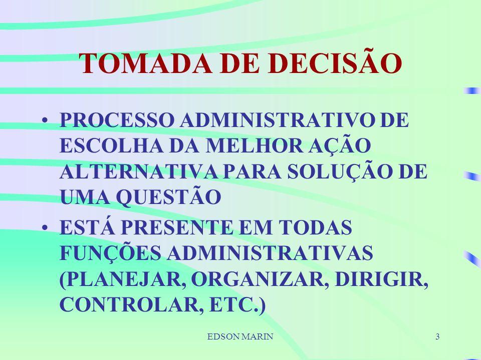EDSON MARIN3 TOMADA DE DECISÃO PROCESSO ADMINISTRATIVO DE ESCOLHA DA MELHOR AÇÃO ALTERNATIVA PARA SOLUÇÃO DE UMA QUESTÃO ESTÁ PRESENTE EM TODAS FUNÇÕES ADMINISTRATIVAS (PLANEJAR, ORGANIZAR, DIRIGIR, CONTROLAR, ETC.)
