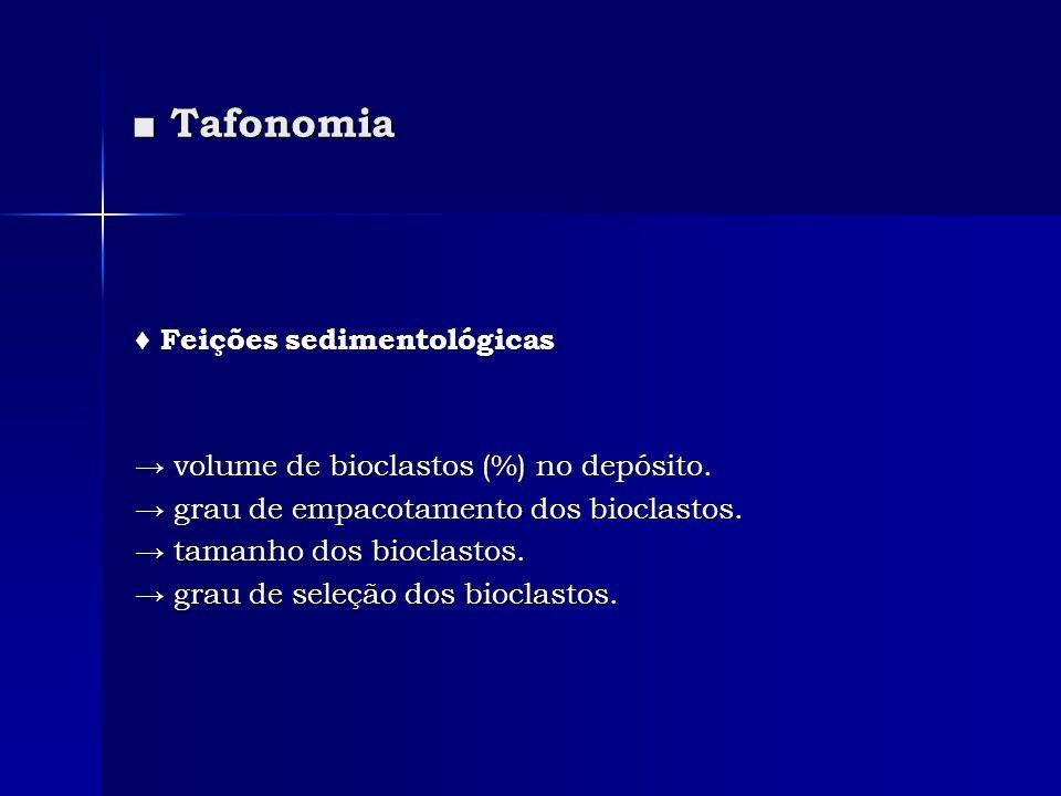 Tafonomia Tafonomia Feições sedimentológicas Feições sedimentológicas volume de bioclastos (%) no depósito. volume de bioclastos (%) no depósito. grau