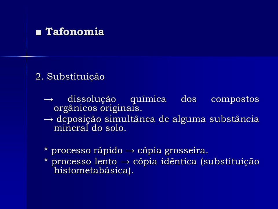 Tafonomia Tafonomia 2. Substituição dissolução química dos compostos orgânicos originais. dissolução química dos compostos orgânicos originais. deposi