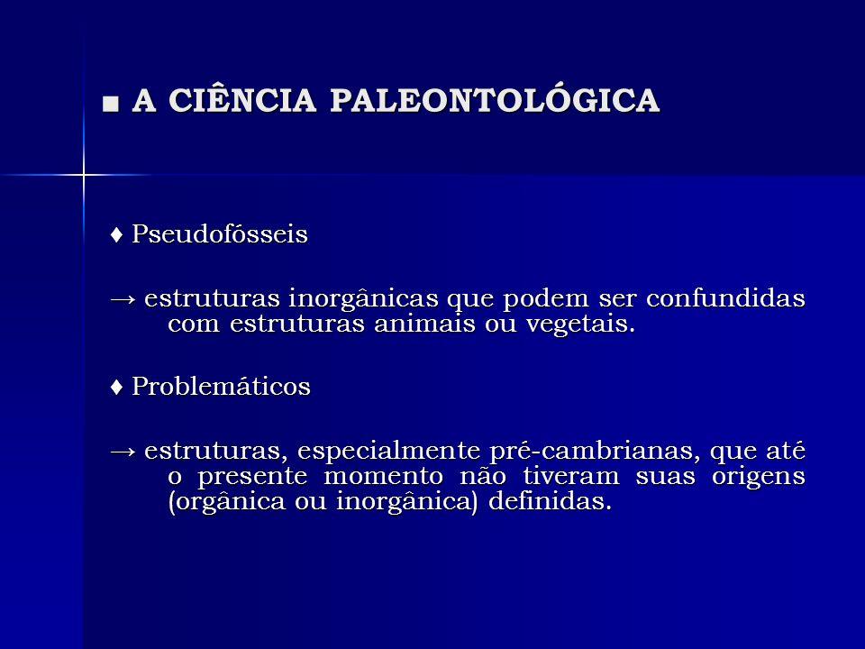 A CIÊNCIA PALEONTOLÓGICA A CIÊNCIA PALEONTOLÓGICA Pseudofósseis Pseudofósseis estruturas inorgânicas que podem ser confundidas com estruturas animais