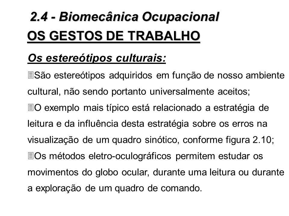 OS GESTOS DE TRABALHO Figura 2.9 - Esteriótipos universais: noção quantitativa 2.4 - Biomecânica Ocupacional
