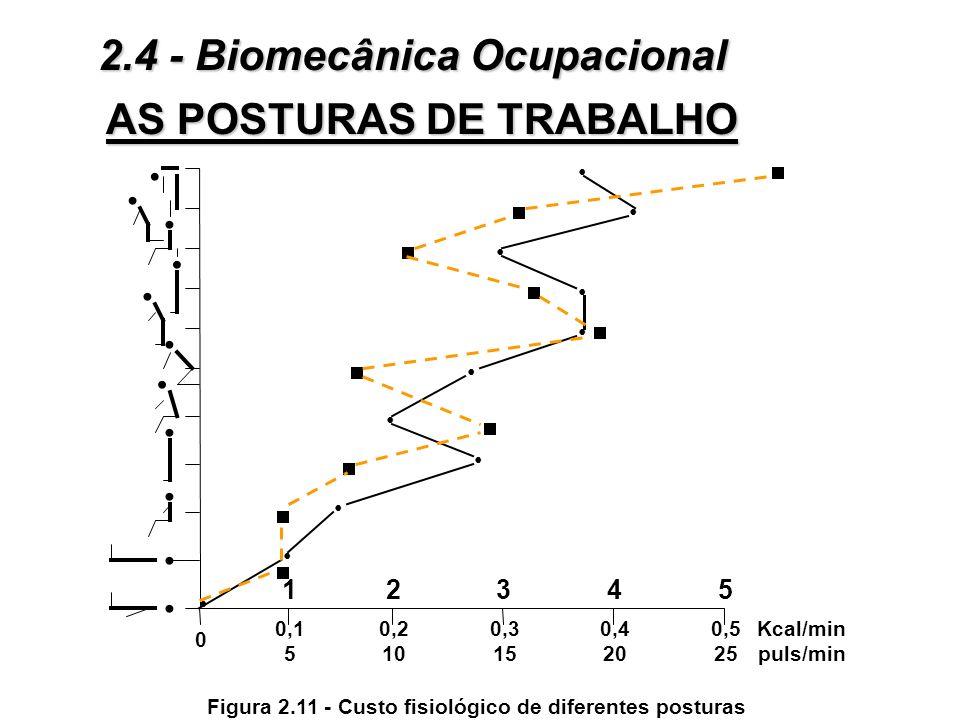 AS POSTURAS DE TRABALHO Os principais métodos de avaliação postural: À Medida do custo energético (ver figuras 2.11 e 2.12): ò A contração estática do