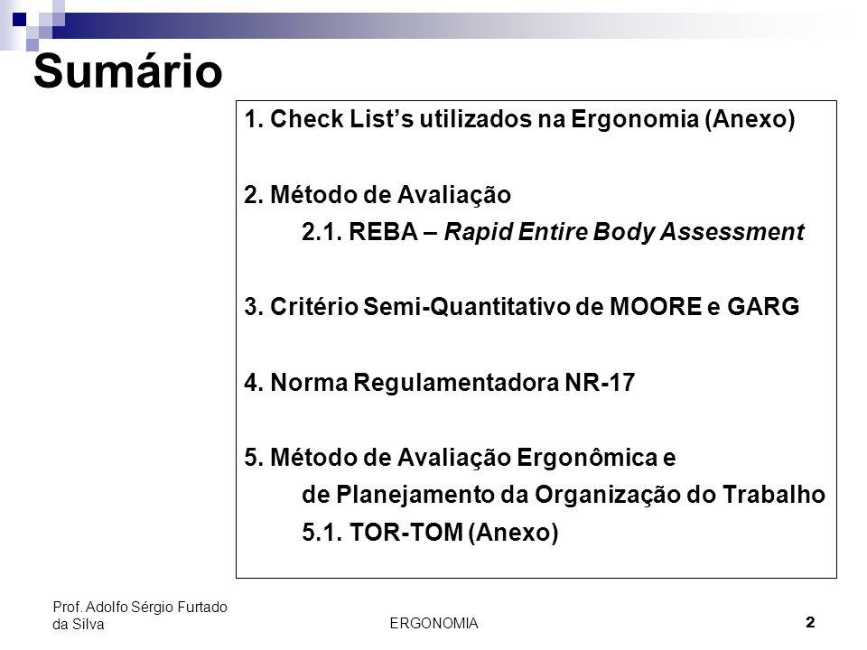 2 Prof. Adolfo Sérgio Furtado da Silva Sumário 1. Check Lists utilizados na Ergonomia (Anexo) 2. Método de Avaliação 2.1. REBA – Rapid Entire Body Ass