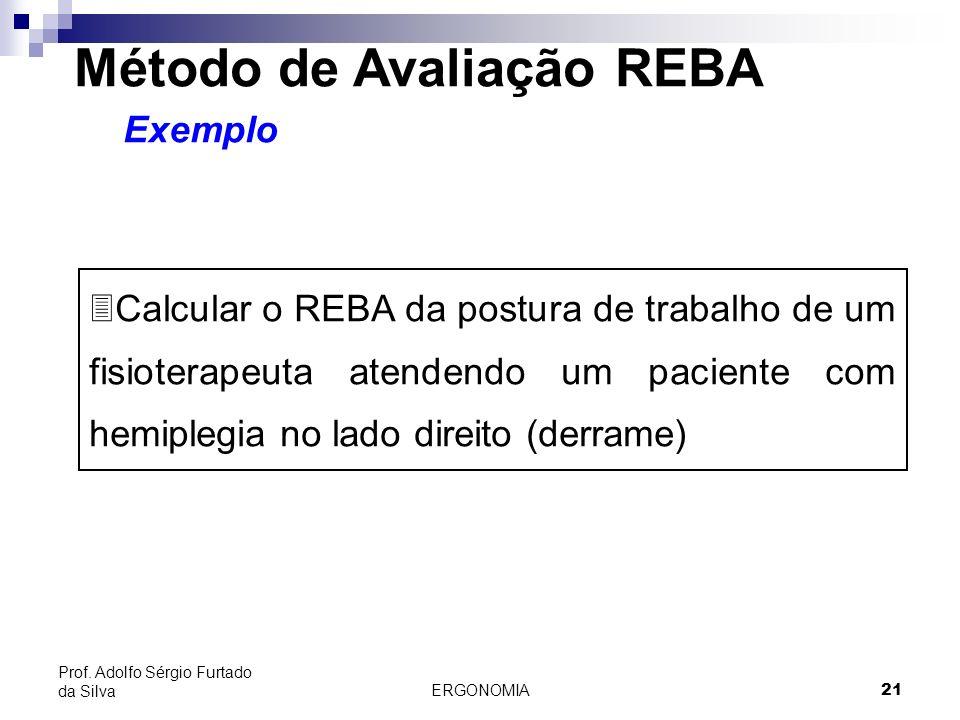 ERGONOMIA 21 Prof. Adolfo Sérgio Furtado da Silva Método de Avaliação REBA Exemplo 3Calcular o REBA da postura de trabalho de um fisioterapeuta atende