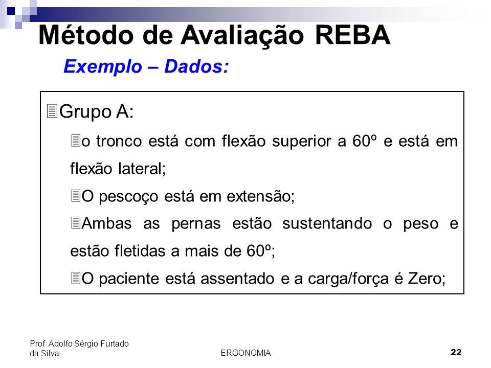 ERGONOMIA 22 Prof. Adolfo Sérgio Furtado da Silva Método de Avaliação REBA Exemplo – Dados: 3Grupo A: 3o tronco está com flexão superior a 60º e está