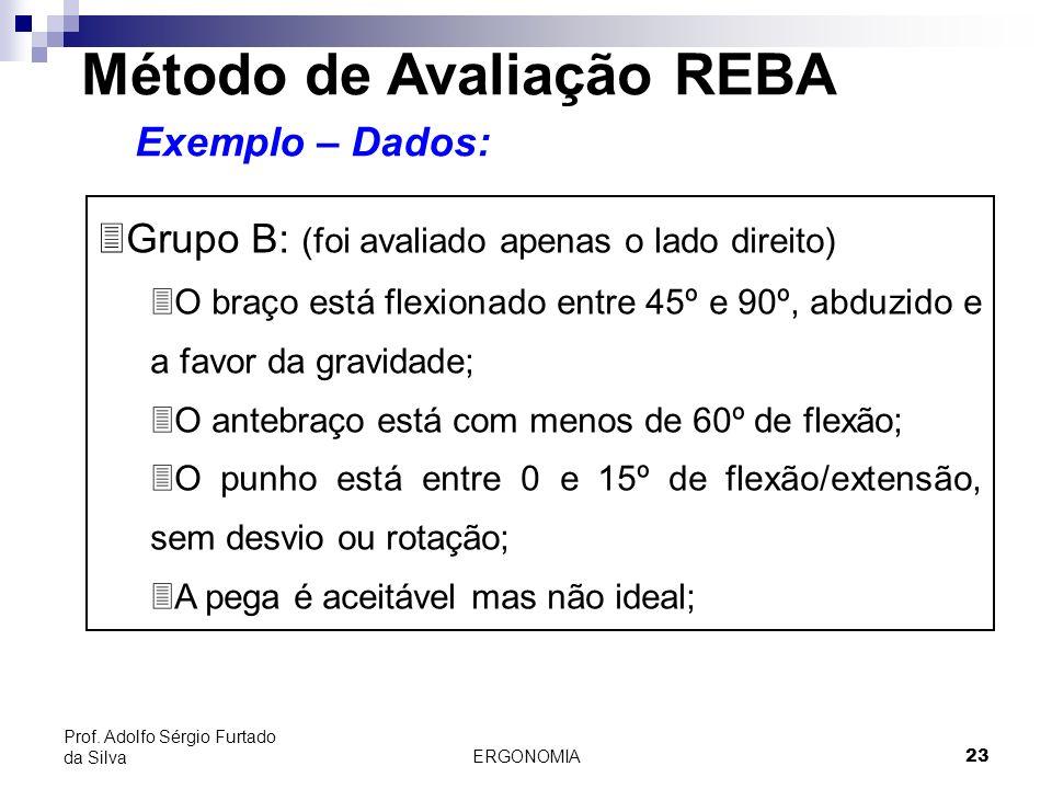 ERGONOMIA 23 Prof. Adolfo Sérgio Furtado da Silva Método de Avaliação REBA Exemplo – Dados: 3Grupo B: (foi avaliado apenas o lado direito) 3O braço es