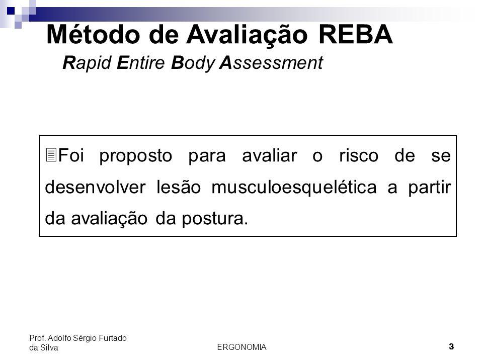 ERGONOMIA 3 Prof. Adolfo Sérgio Furtado da Silva Método de Avaliação REBA Rapid Entire Body Assessment 3Foi proposto para avaliar o risco de se desenv