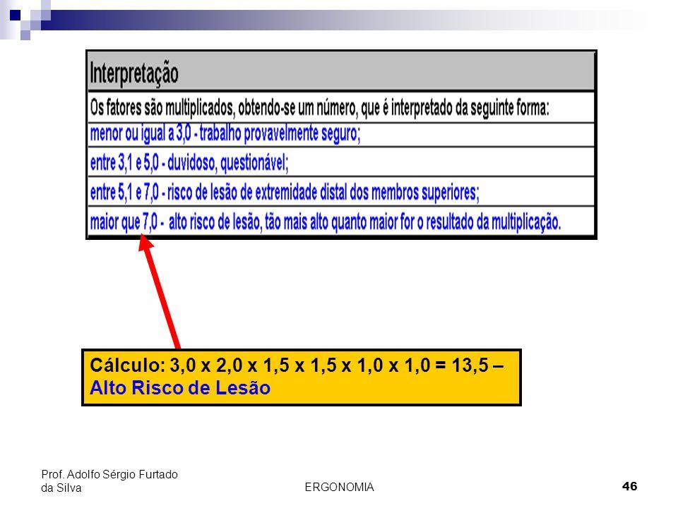 ERGONOMIA 46 Prof. Adolfo Sérgio Furtado da Silva Cálculo: 3,0 x 2,0 x 1,5 x 1,5 x 1,0 x 1,0 = 13,5 – Alto Risco de Lesão