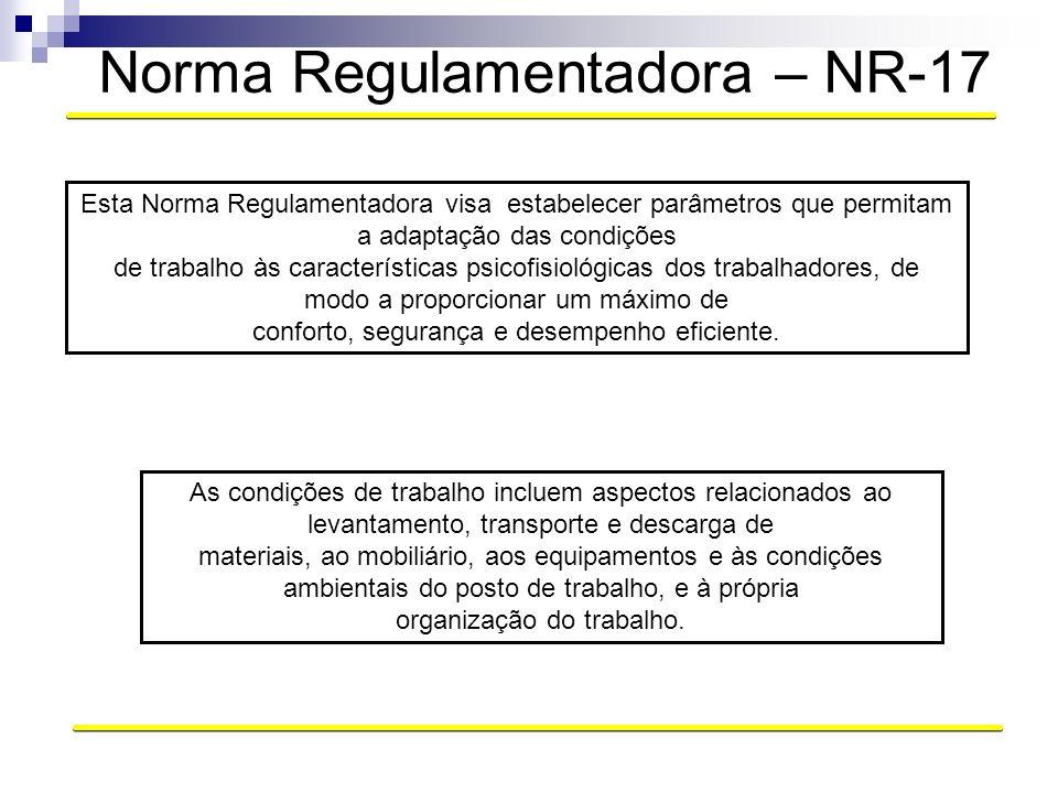 Norma Regulamentadora – NR-17 As condições de trabalho incluem aspectos relacionados ao levantamento, transporte e descarga de materiais, ao mobiliári