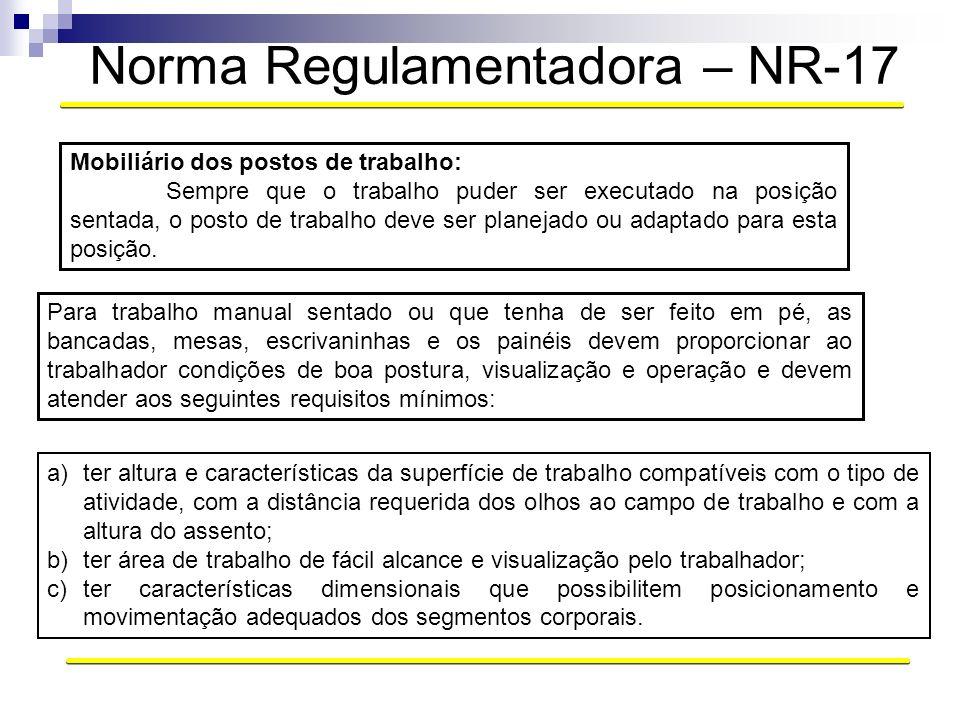 Norma Regulamentadora – NR-17 Mobiliário dos postos de trabalho: Sempre que o trabalho puder ser executado na posição sentada, o posto de trabalho dev