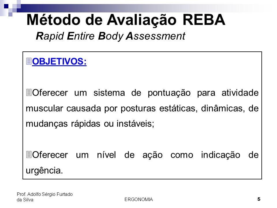 ERGONOMIA 5 Prof. Adolfo Sérgio Furtado da Silva Método de Avaliação REBA Rapid Entire Body Assessment 3OBJETIVOS: 3Oferecer um sistema de pontuação p