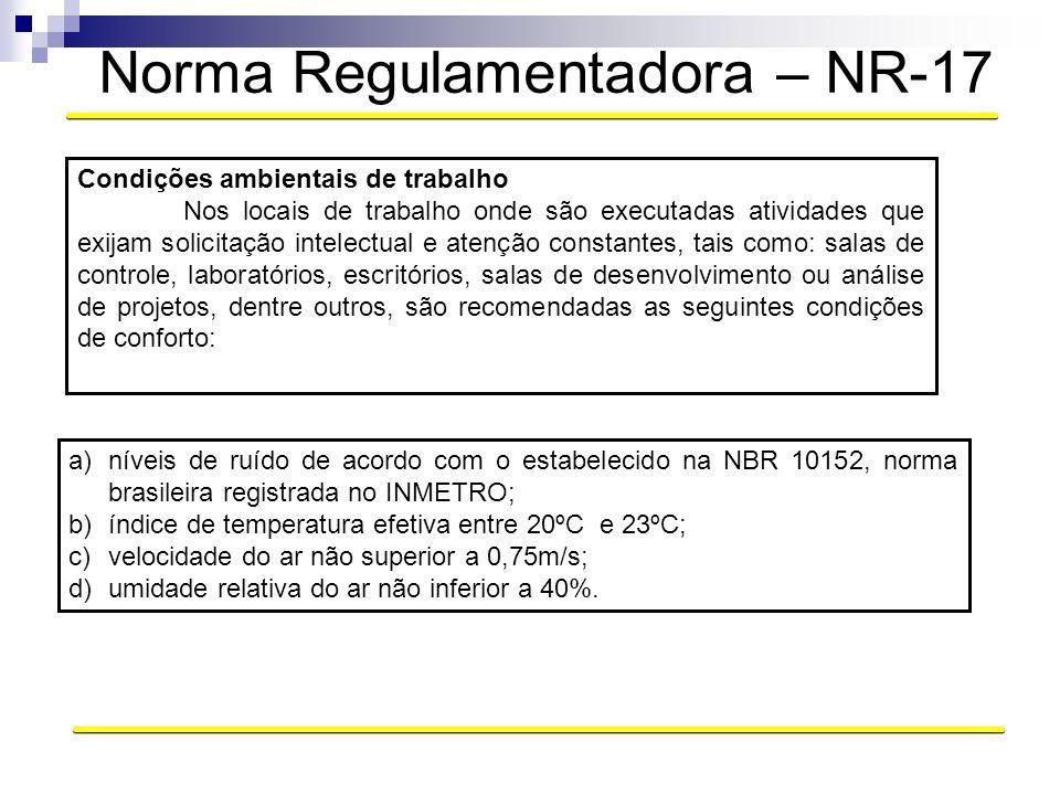 Norma Regulamentadora – NR-17 Condições ambientais de trabalho Nos locais de trabalho onde são executadas atividades que exijam solicitação intelectua
