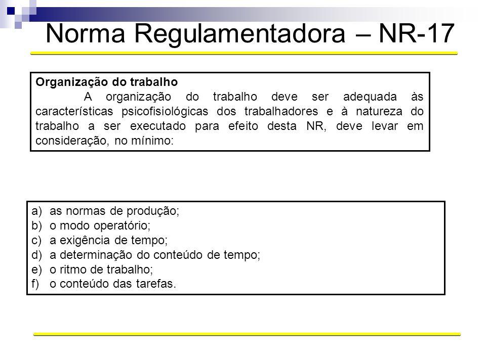 Norma Regulamentadora – NR-17 Organização do trabalho A organização do trabalho deve ser adequada às características psicofisiológicas dos trabalhador