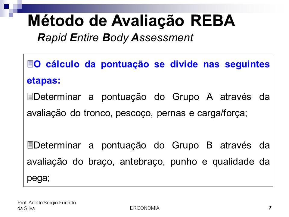 ERGONOMIA 7 Prof. Adolfo Sérgio Furtado da Silva Método de Avaliação REBA Rapid Entire Body Assessment 3O cálculo da pontuação se divide nas seguintes