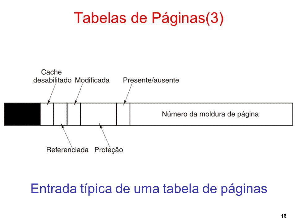 16 Tabelas de Páginas(3) Entrada típica de uma tabela de páginas