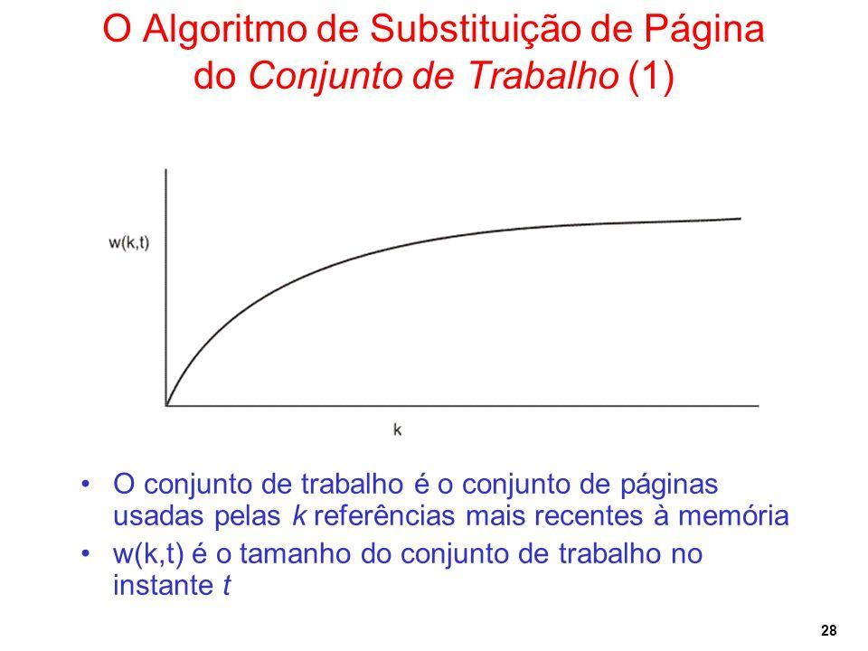 28 O Algoritmo de Substituição de Página do Conjunto de Trabalho (1) O conjunto de trabalho é o conjunto de páginas usadas pelas k referências mais re