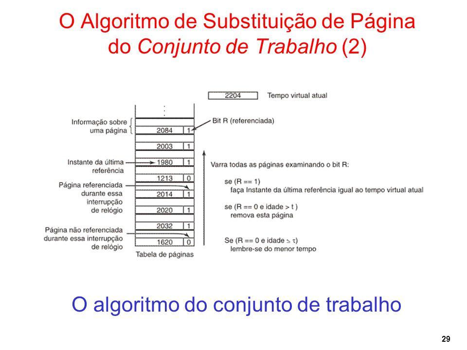 29 O Algoritmo de Substituição de Página do Conjunto de Trabalho (2) O algoritmo do conjunto de trabalho
