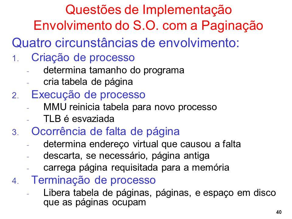 40 Questões de Implementação Envolvimento do S.O. com a Paginação Quatro circunstâncias de envolvimento: 1. Criação de processo determina tamanho do p