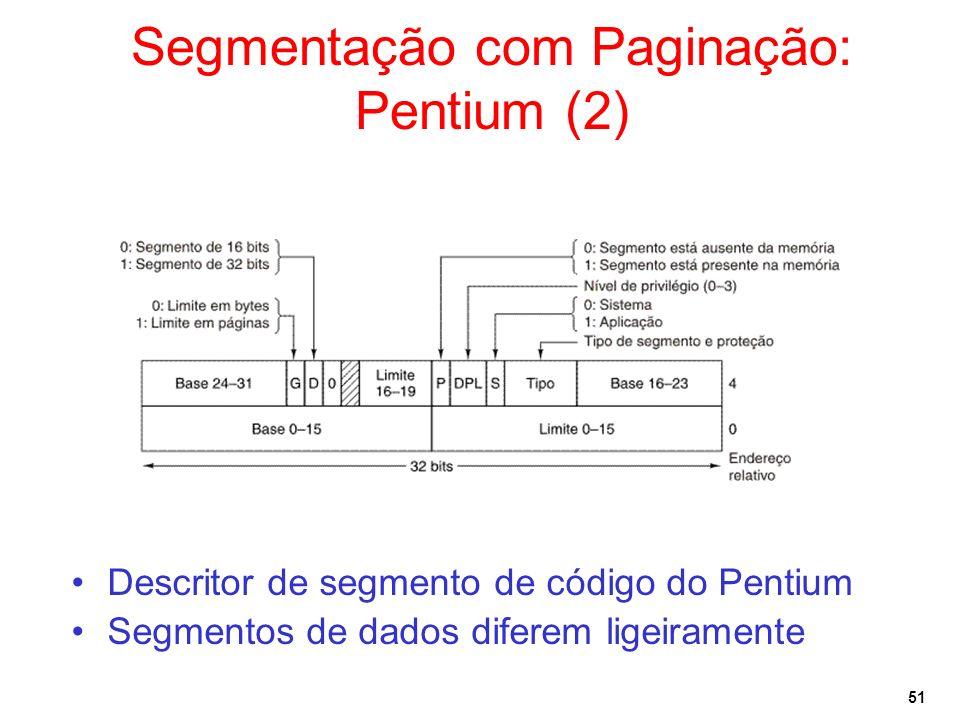 51 Segmentação com Paginação: Pentium (2) Descritor de segmento de código do Pentium Segmentos de dados diferem ligeiramente