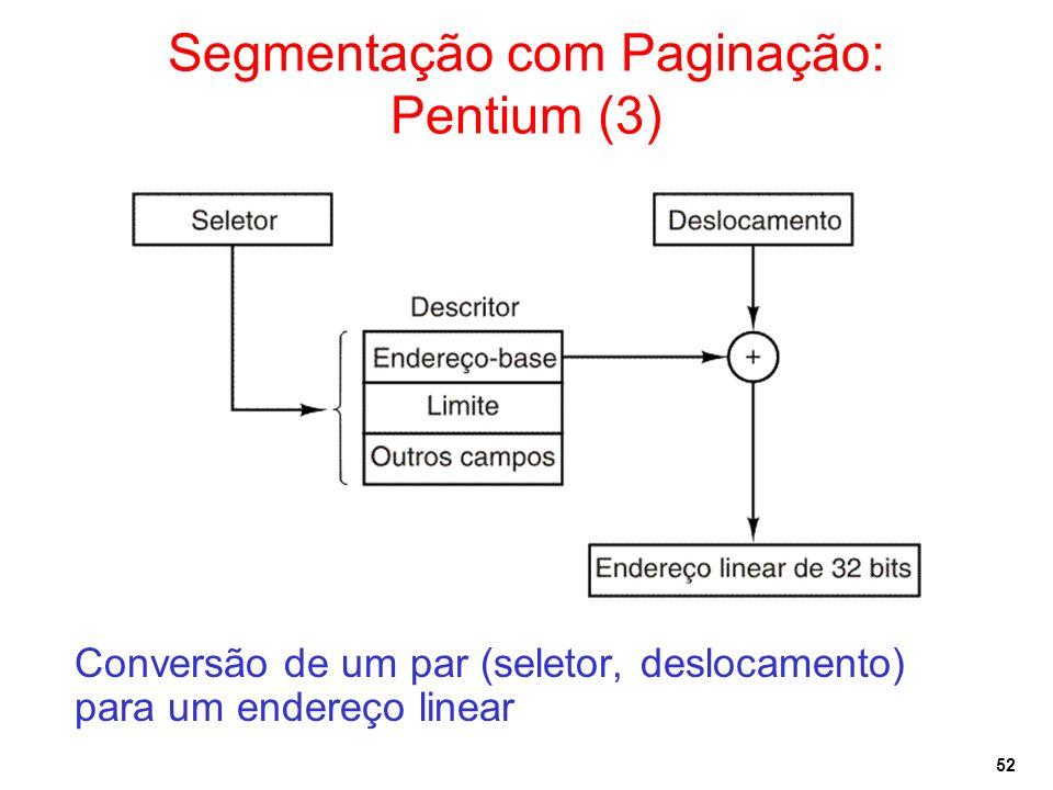 52 Segmentação com Paginação: Pentium (3) Conversão de um par (seletor, deslocamento) para um endereço linear