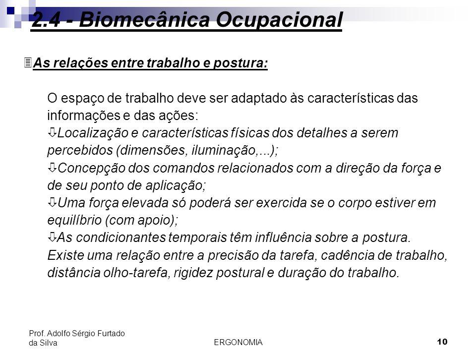 ERGONOMIA 10 Prof. Adolfo Sérgio Furtado da Silva 3As relações entre trabalho e postura: O espaço de trabalho deve ser adaptado às características das