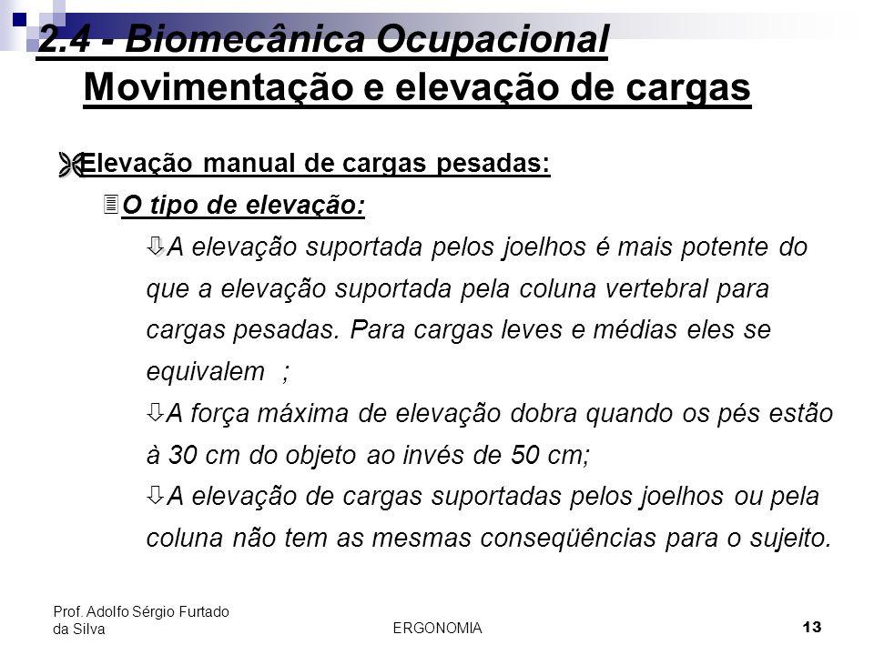 ERGONOMIA 13 Prof. Adolfo Sérgio Furtado da Silva Movimentação e elevação de cargas Ë Ë Elevação manual de cargas pesadas: 3O tipo de elevação: ò ò A