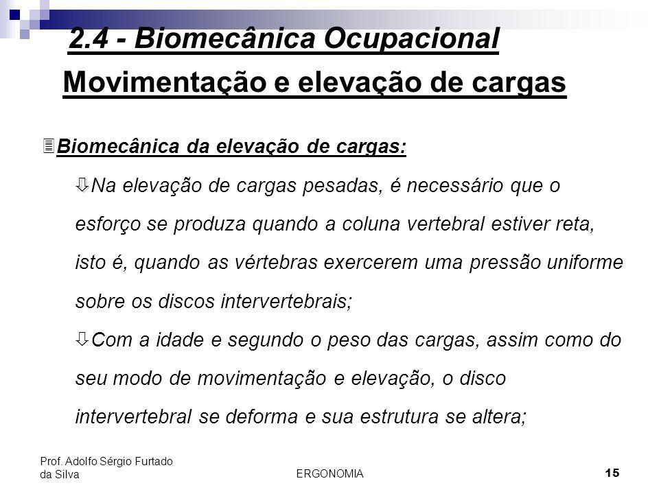 ERGONOMIA 15 Prof. Adolfo Sérgio Furtado da Silva Movimentação e elevação de cargas 3Biomecânica da elevação de cargas: ò ò Na elevação de cargas pesa
