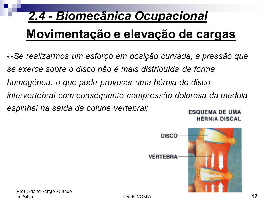 ERGONOMIA 17 Prof. Adolfo Sérgio Furtado da Silva Movimentação e elevação de cargas ò Se realizarmos um esforço em posição curvada, a pressão que se e