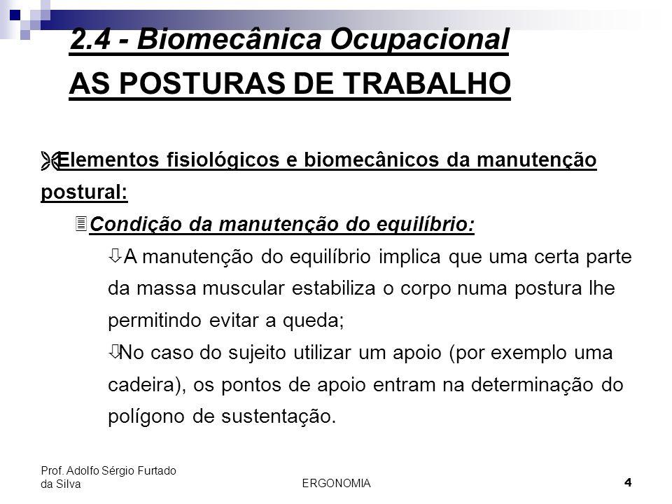 ERGONOMIA 4 Prof. Adolfo Sérgio Furtado da Silva AS POSTURAS DE TRABALHO Ë Elementos fisiológicos e biomecânicos da manutenção postural: 3Condição da