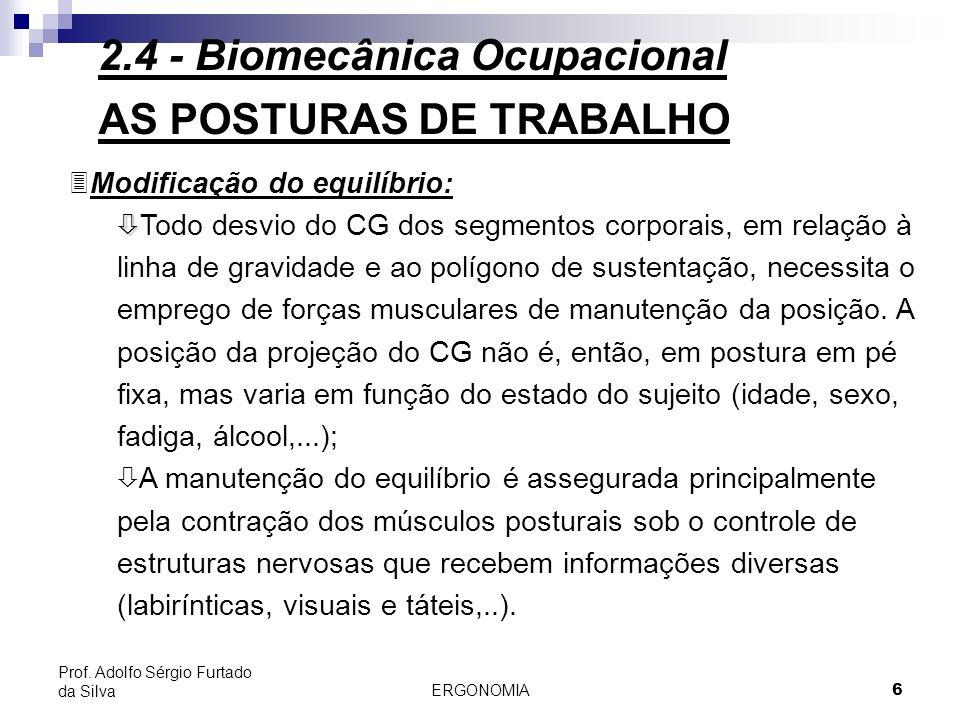 ERGONOMIA 6 Prof. Adolfo Sérgio Furtado da Silva AS POSTURAS DE TRABALHO 3Modificação do equilíbrio: ò ò Todo desvio do CG dos segmentos corporais, em
