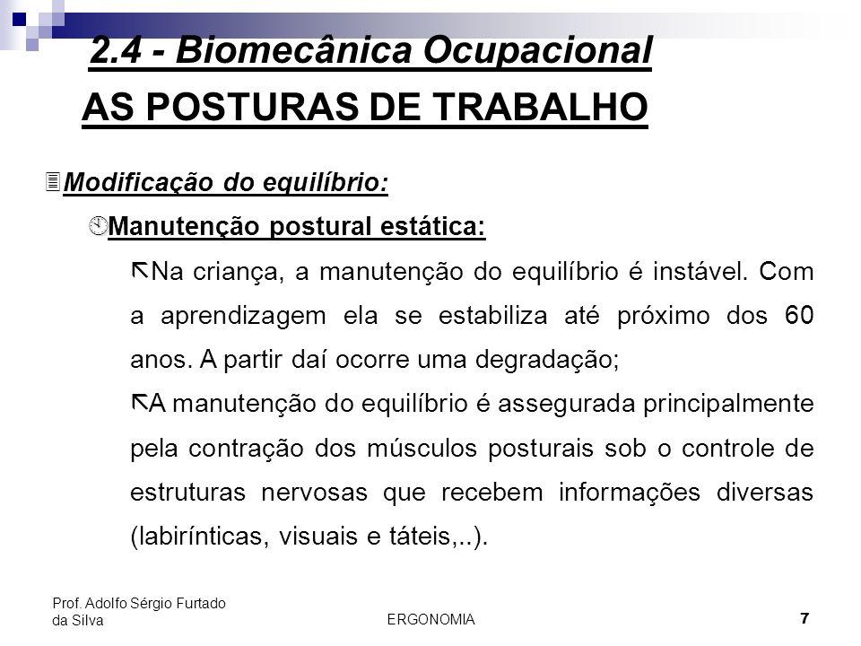 ERGONOMIA 7 Prof. Adolfo Sérgio Furtado da Silva AS POSTURAS DE TRABALHO 3Modificação do equilíbrio: À À Manutenção postural estática: ã Na criança, a