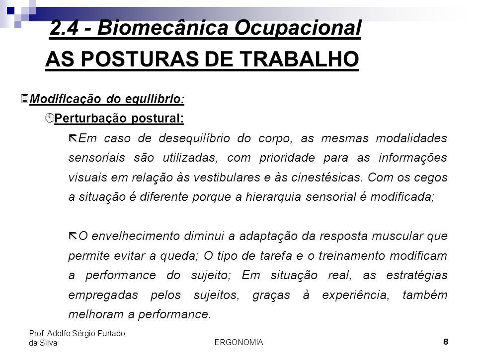 ERGONOMIA 8 Prof. Adolfo Sérgio Furtado da Silva AS POSTURAS DE TRABALHO 3Modificação do equilíbrio: Á Á Perturbação postural: ã ã Em caso de desequil