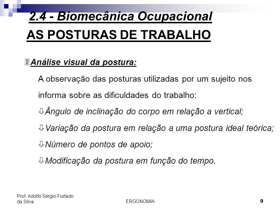 ERGONOMIA 9 Prof. Adolfo Sérgio Furtado da Silva AS POSTURAS DE TRABALHO 3Análise visual da postura: A observação das posturas utilizadas por um sujei