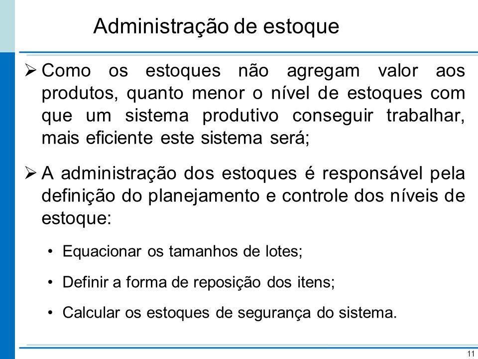 Administração de estoque Como os estoques não agregam valor aos produtos, quanto menor o nível de estoques com que um sistema produtivo conseguir trab