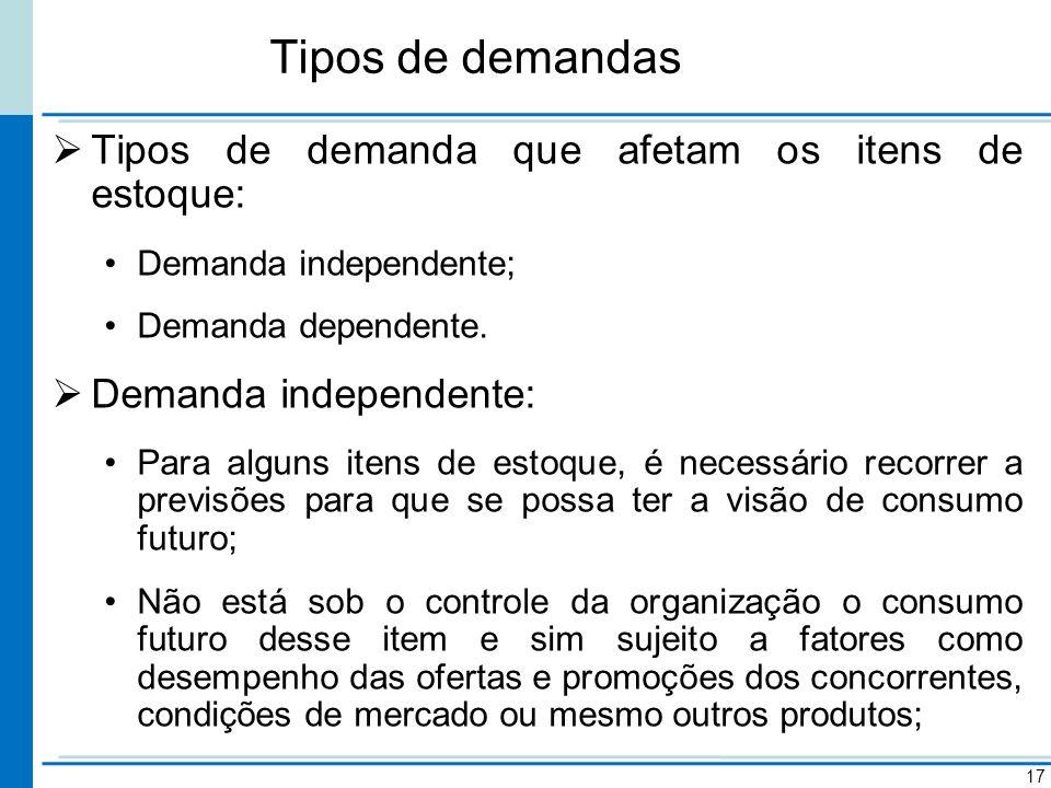 Tipos de demandas 17 Tipos de demanda que afetam os itens de estoque: Demanda independente; Demanda dependente. Demanda independente: Para alguns iten