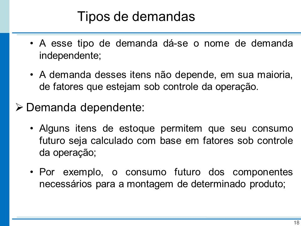 Tipos de demandas 18 A esse tipo de demanda dá-se o nome de demanda independente; A demanda desses itens não depende, em sua maioria, de fatores que e