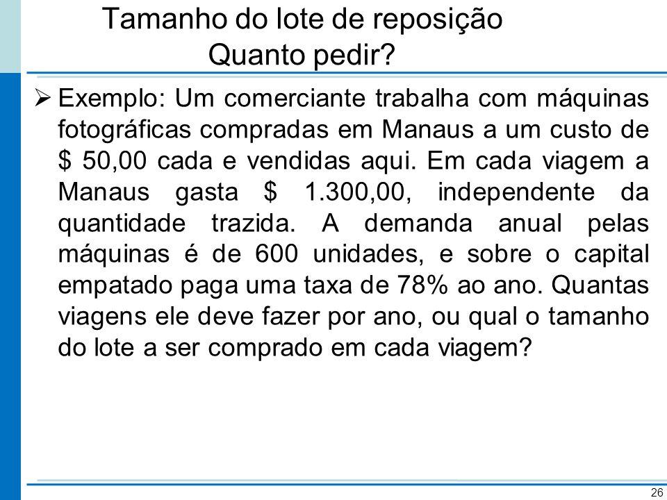 Tamanho do lote de reposição Quanto pedir? Exemplo: Um comerciante trabalha com máquinas fotográficas compradas em Manaus a um custo de $ 50,00 cada e