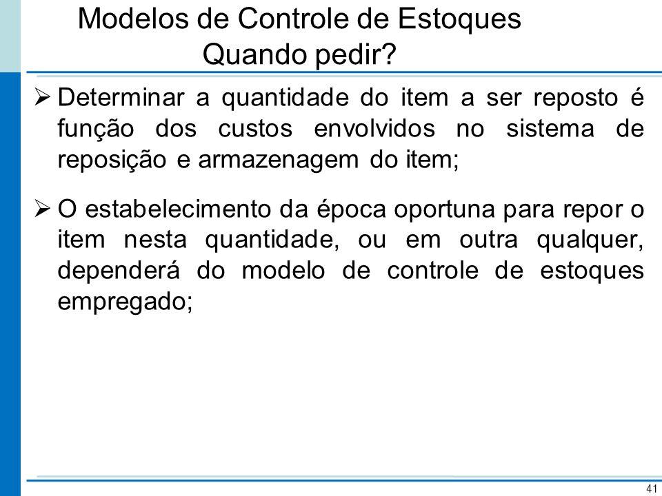 Modelos de Controle de Estoques Quando pedir? Determinar a quantidade do item a ser reposto é função dos custos envolvidos no sistema de reposição e a