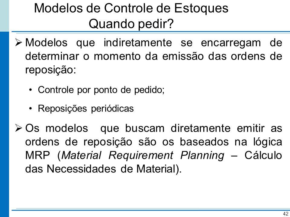 Modelos de Controle de Estoques Quando pedir? Modelos que indiretamente se encarregam de determinar o momento da emissão das ordens de reposição: Cont