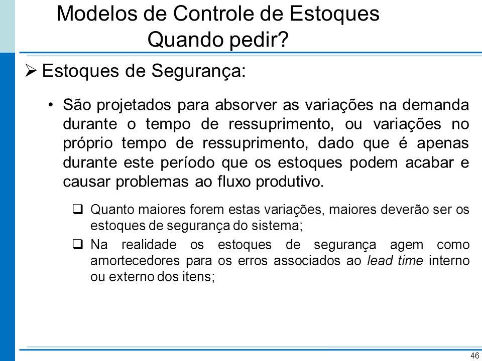 Modelos de Controle de Estoques Quando pedir? Estoques de Segurança: São projetados para absorver as variações na demanda durante o tempo de ressuprim