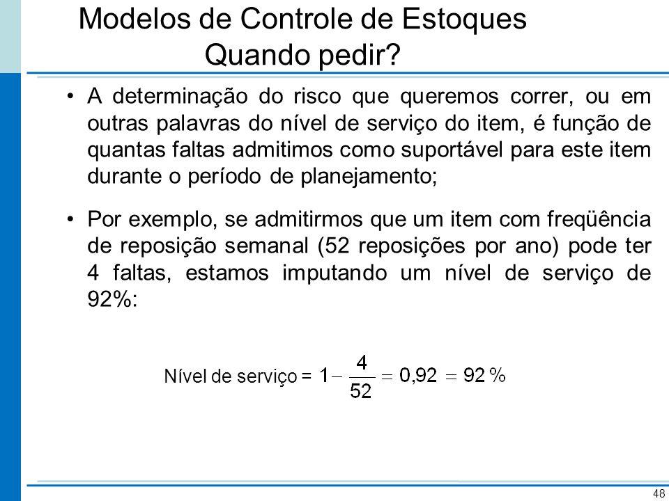 Modelos de Controle de Estoques Quando pedir? A determinação do risco que queremos correr, ou em outras palavras do nível de serviço do item, é função