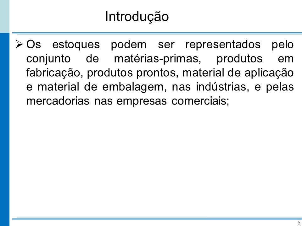 Introdução Os estoques podem ser representados pelo conjunto de matérias-primas, produtos em fabricação, produtos prontos, material de aplicação e mat