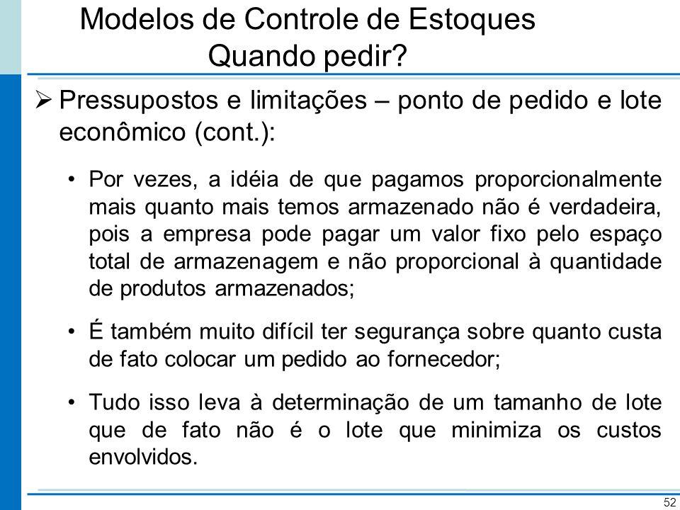 Modelos de Controle de Estoques Quando pedir? Pressupostos e limitações – ponto de pedido e lote econômico (cont.): Por vezes, a idéia de que pagamos